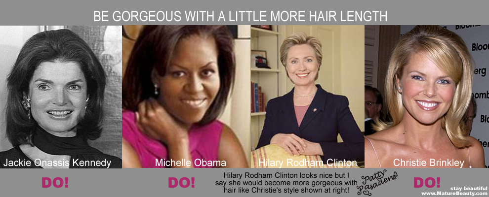 First Lady Hair, Michelle Obama Hair, Jackie Kennedy Hair, Hilary Clinton Hair, Christie Brinkley Hair