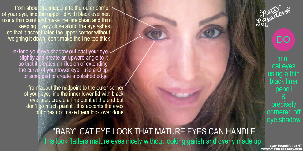 Cat Eye Makeup Effect for a Mature Woman's Eyes – get an instant free eye