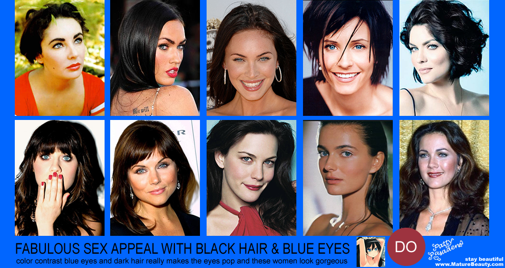 blue eyes black hair, black hair color, makeup blue eyes, beauty tips, megan fox, lynda carter, cougar women courtney cox