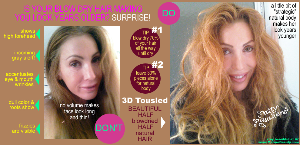 tousled hair, natural hair, sexy hair, beach hair, beachy hair, bed head hair, come hither hair, supermodel hair, high volume hair, hair with body, luscious hair, over 40 hair, hair to look younger, youthful hair styles for older women