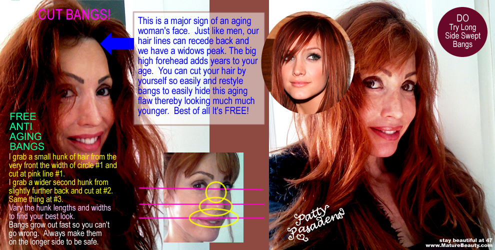 be gorgeous, become gorgeous, hair styles with bangs, mature hair styles, bangs pictures, hair bangs, long bangs, side part hair, side swept bangs, side swipe bangs, high forehead, female balding, female plugs alternatives