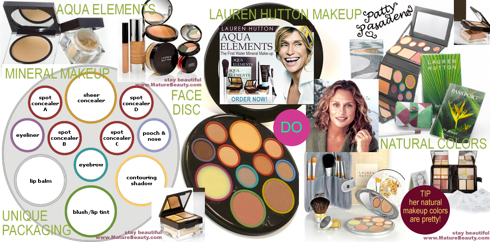 lauren hutton, aqua elements, breathable, extreme lash mascara, color smooth lipstick, sunset face fisc collection, aqua elements, mineral makeup, face disc refils, invisible touch collection, tortoise shell face disc, tinted moisterizer, lights on, all natural face disc, bamboo brush set, aqua elements breathable, passport to brazil, aqua press complete, aqua elements gel foundation, matte moisterizer, breast decollete oil
