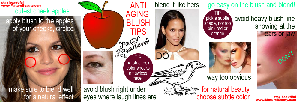 how to apply blush, where to apply blush, tips for applying blush, cheek blush, blush tips, blush shades, good blush, best blushers, makeup tips on blush, how to blend blush, powder blush, mineral blush, cheek blush, orange blush, brown blush, pink blush, rose blush, best blush, earth tone blush, anti aging blush, anti aging makeup tricks, celebrity makeup examples, how celebrities do their makeup, how to wear makeup like a celebrity, how to look like a celebrity with makeup, how to look younger with makeup, blush makeup tips for women, smashbox, mac cosmetics, stilla, mineral powder, bare minerals, natrual mineral makeup, mineral makeup pointers, mineral makeup blushes, mineral makeup blush, blush brushes, blush apply